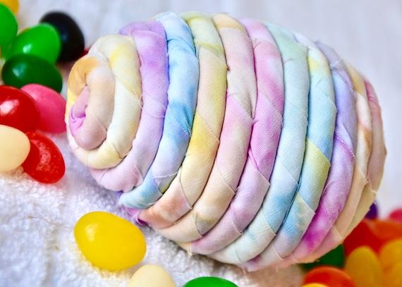 Pastel Easter Egg, 1 Ornament, Handmade Easter Egg Decoration, Batik Fabric Egg, Bowl Filler, Easter Egg Hunt, Hand Coiled Fiber Easter Egg