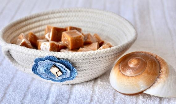 Denim Rope Bowl, Handmade Potpourri Basket, Beach Shell Basket, Upcycled Jean Flower Candy Bowl,  Minimalist Key Bowl, Ring Dish