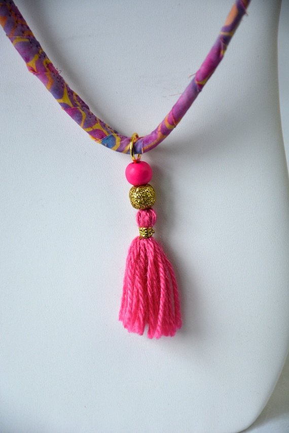 Cute Tassel Necklace, Handmade Batik Fiber Necklace, Pink Fabric Jewelry,  Unique Necklace, Mauve Batik Necklace, Jewelry