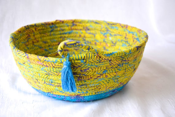 Decorative Blue Bowl, Handmade Batik Basket, Fun Rope Basket, Lovely Fruit Bowl,  Catchall, Yarn Bowl, Napkin Holder, Bread Basket, Tassel
