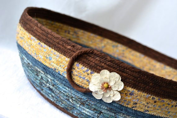 Country Cat Bed, Rustic Blue Gift Basket, Gorgeous Quilted Batik Basket, Handmade Unique Blue and Brown Fabric Bowl,  Coiled Rope Storage