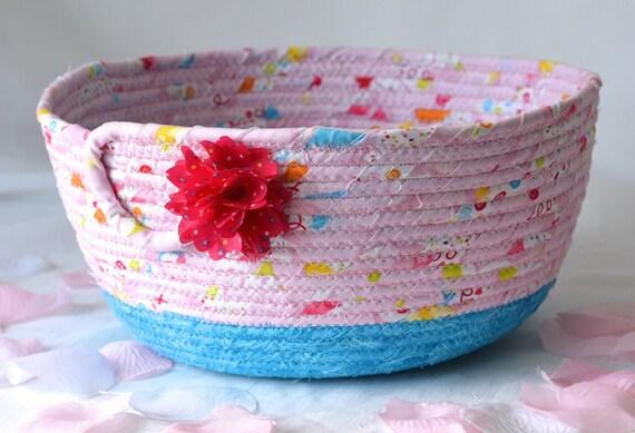 Baby Diaper Bucket, Girl Hair Tie Basket, Handmade Pink Bowl, Makeup Organizer, Girls Room Decor, Soap or Lotion Bin, Napkin Holder