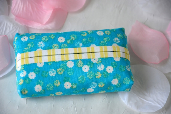 Kleenex Pocket Tissue Holder, Handmade Travel Tissue Case, Lovely Bachelorette Party Favor, Pretty Blue Purse Accessory