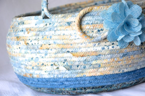 Country Bolga Basket, Handmade Textile Art Basket, Blue Coiled Rope Basket with handle, Farmhouse Fabric Bin, Cottage Chic Beach Basket