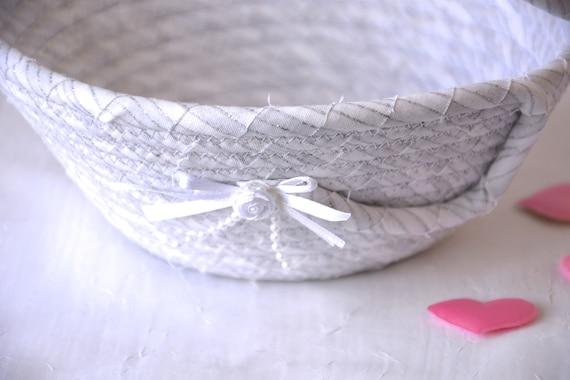 Flower Girl Basket, Handmade White Wedding Basket, Lovely White with Silver Glitter Bowl, Candy Dish, Card Holder, Potpourri Bowl