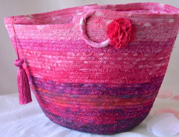 Hot Pink Tote Bag, Handbag Purse, Handmade Batik Fabric Basket, Laptop Case, Beach Bag, Unique Picnic Basket, Coiled Moses Basket