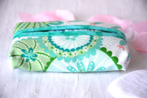 Kleenex Pocket Tissue Holder, Handmade Travel Tissue Case, Lovely Mother's Day Gift, Basket Filler, Purse Pouch, Aqua Case
