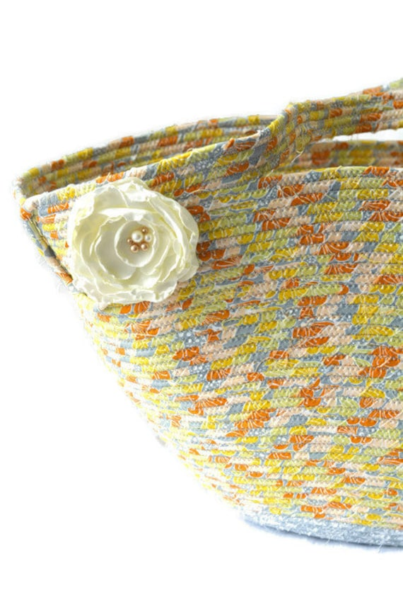 Gray Tote Bag, Handmade Picnic Rope Basket, Textile Art Basket, Clothesline Basket, Lovely Storage Organizer, Knitting Project Bag