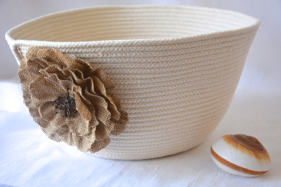 Farmhouse Mail Basket, Handmade Quilted Bowl, Neutrals Basket, Lovely Country Fruit Bowl, Rustic hand coiled rope basket
