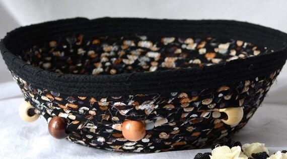 Textile Art Basket, Black Remote Control Holder, Handmade Yarn Holder. Fabric Napkin Basket, Coiled Rope Basket, Decorative Fruit Bowl