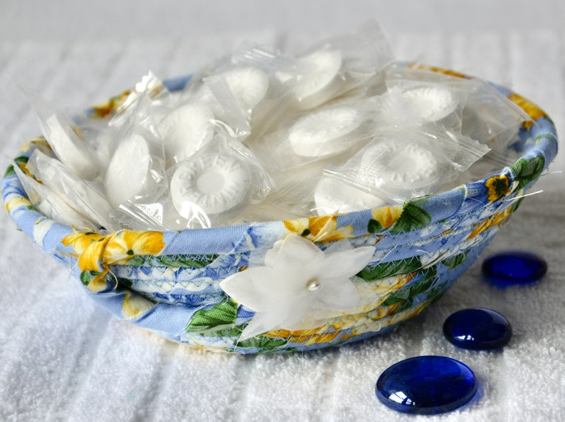Blue Candy Dish 1 Handmade Coiled Bowl Cute Key Basket image 0