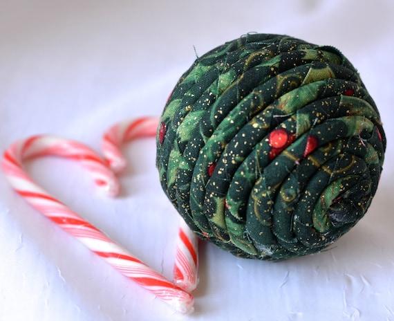 Christmas Ornament, Handmade Holiday Decoration, Green Bowl Filler, Hand Coiled Fiber Christmas Ball,  Holiday Home Decor