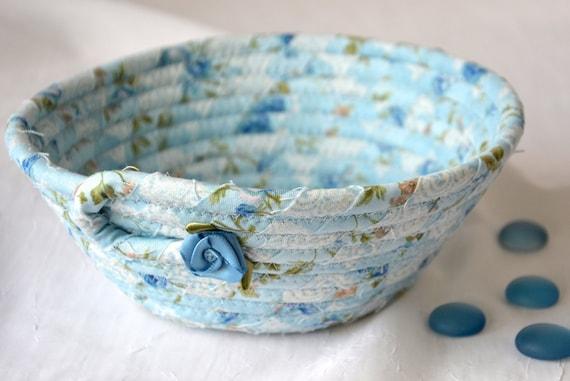 Shabby Chic Bowl, Handmade Fiber Art Basket, Blue Quilted Bowl, Country Bread Basket, Napkin Holder, Eyeglass Key Bowl