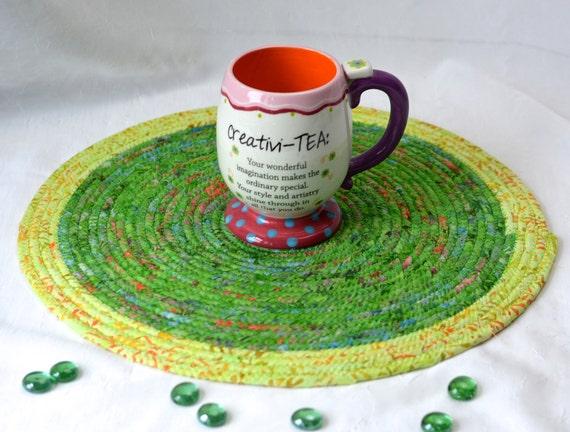 "Spring Table Trivet, 14"" Place Mat, Handmade Batik Hot Pad, Gorgeous Fabric Trivet, Kelly Green Table Topper Runner, Coiled Rope Mat"