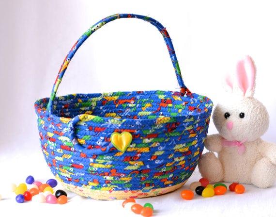Boy Easter Basket, Handmade Easter Bucket, Crayon Basket, Boy Room Toy Organizer, Stuffed Animal Bed Bin, Storage Bin