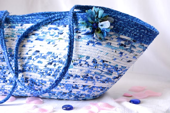 Beach Tote Bag, Handmade Blue and White Beauty Handbag, Unique Yoga Mat Basket, Handles, Coiled Clothesline Tote Bag, Beach Picnic Bag