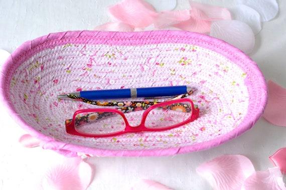 Cute Eyeglass Basket, Handmade Decorative Fabric Basket, Candy Dish Bowl, Ring Dish, Pink Desk Accessory, Rose Bud Basket