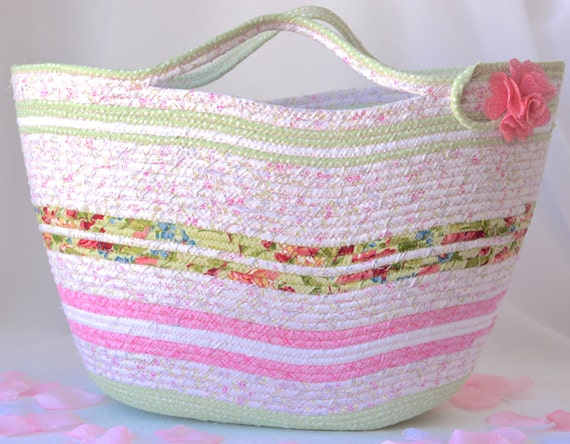 Picnic Tote Bag, Pretty Floral Beach Basket, Shabby Chic Handled Basket, Knitting Project Bag, Handmade Quilted Gift Basket