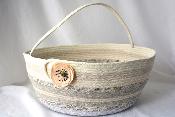 Neutrals Bolga Basket, Biege Home Decor, Handmade Coiled Rope Basket, Lovely Storage Organizer, Knitting Project Bag,  Gift Basket
