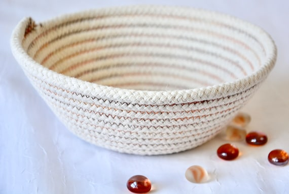 Fall Candy Bowl, Rustic Ring Dish, Desk Accessory, Handmade Rope Basket, Country Key Dresser Tray,  Neutrals Decoration, Farmhouse basket