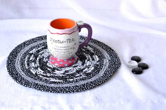 """Black Fabric Trivet, 12"""" Handmade Coiled Rope Trivet, Black and White Place Mat, Lovely Black Artisan Table Mat, Quilted Hot Pad"""