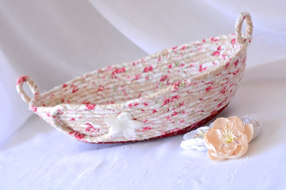 Rose Garden Basket, Handmade Eyeglass Bowl, Key Ring Dish, Shabby Chic Desk Accessory, English Rose Garden Floral Decor
