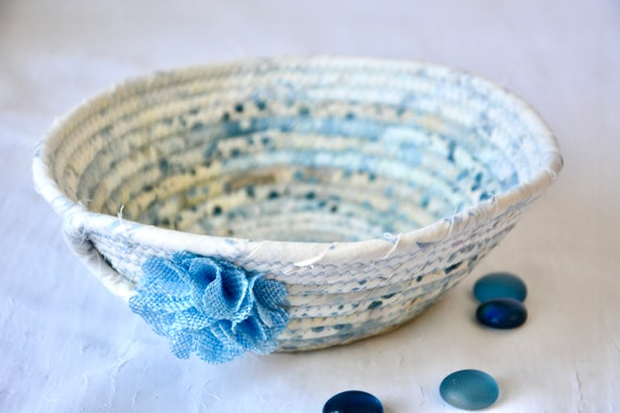 Batik Key Basket, Handmade Blue Ring Bowl, Candy Dish, Indigo Fabric Basket, Cottage Chic Decor Bowl, Coin Change Bowl