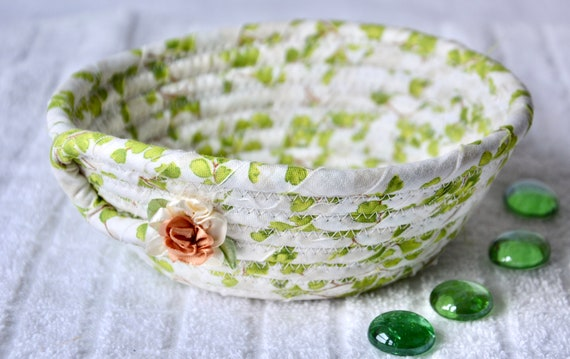 Shabby Chic Basket, 1 Handmade Green Bowl, Cute Desk Accessory, English Garden Ring Dish, Dresser Key Tray, Potpourri Bowl