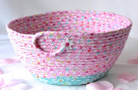 Baby Nursery Decoration, Pink Girl Basket, Handmade Fabric Basket, Pretty Quilted Basket, Pink Bathroom Towel Holder, Rope Coiled Bowl