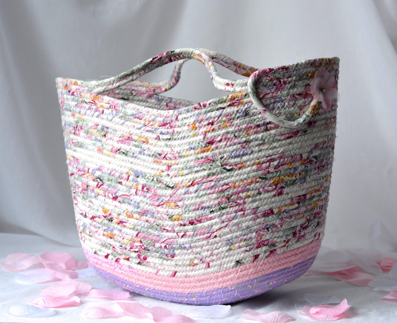 Shabby chic tote bag handmade moses basket lovely pink storage organizer  pink beach bag picnic basket 2dab0b3bfd55f