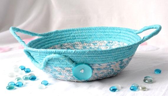 Turquoise Rope Basket, Handmade Blue Bowl, Shabby Chic Key Holder, Aqua Blue Handled Basket, Unique Turquoise Kitchen Decor