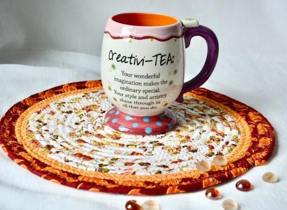 "Fall Place Mat, 1 Handmade Trivet, 11"" Table Runner, Foliage Potholder, Table Topper, Autumn Hot Pad, Orange Red Place Mat"