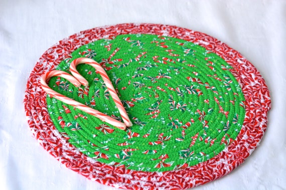 "Holiday Table Topper, 1 Christmas Candy Cane Place Mat, Handmade Hot Pad,  12"" Trivet, Table Mat, Lovely Christmas Decoration"