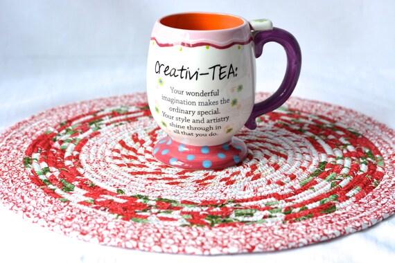 "Red Christmas Trivet, 1 Handmade Place Mat, 14"" Quilted Potholder, Table Topper, Christmas Holiday Table Runner, Trivet"