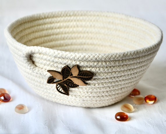 Fall Candy Bowl, Leaf Ring Dish, Potpourri Holder, Handmade Rope Basket, Country Key Dresser Tray,  Neutrals Decoration, Farmhouse basket