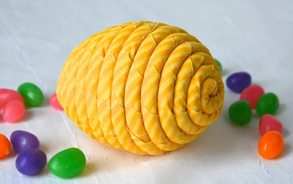Yellow Easter Egg Ornament, Handmade Easter Egg Decoration, Bowl Filler Stuffer, Easter Egg Hunt, Hand Coiled Fiber Easter Egg