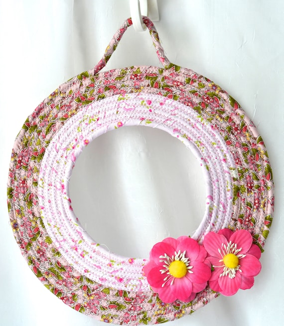 Easter Fabric Wreath, Spring Door Hanger, Lovely Wall Art, Artisan Quilted Wreath, Handmade Floral Home Decor, Modern