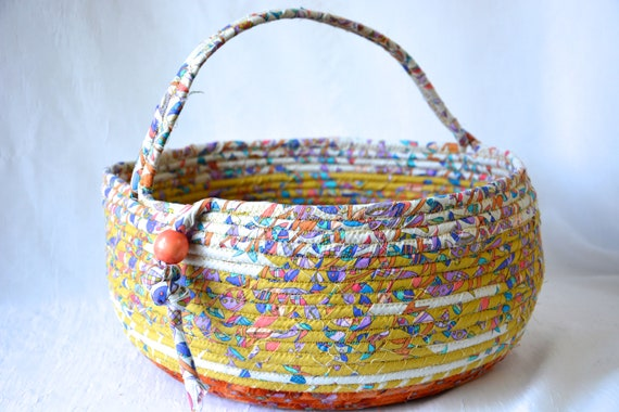 Unique Bolga Basket, Mustard and Burnt Orange Organizer, Handmade Textile Art Basket, Southwestern Rope Basket with handle