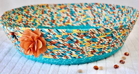 Turquoise Fabric Basket, Pillow Holder, Toy Storage Organizer, Aqua Hat and Shawl Basket, Paper Recycle Bin , Aqua Sweater Bin