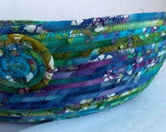 Batik Cat Bed, Handmade Green Batik Basket, Purple and Green Batik Dog Bed, Fruit Bowl, Centerpiece, hand wrapped and coiled fabric