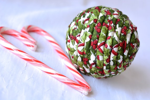Christmas Holly Ornament, Handmade Holiday Decoration, Hollyberry Bowl Filler, Hand Coiled Fiber Christmas Ball,  Holiday Home Decor