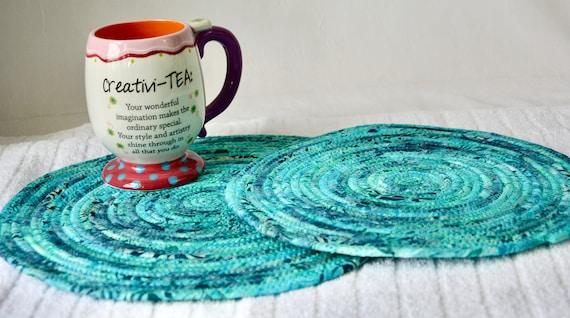 Turquoise Batik Mat, 2 Boho Place Mats, Handmade Potholders, Hot Pads, Fabric Table Trivets, Kitchen Home Decor, Table Topper Runner