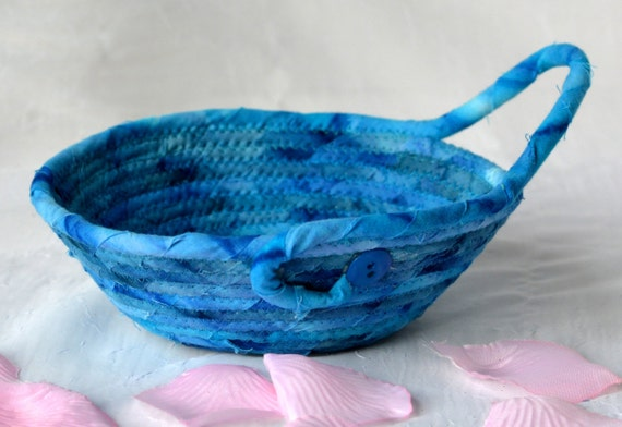 Men Key Basket, Handmade Country Blue Bowl, Blue Batik Gift Basket, Quilted Rope Basket, Boho Chic Fabric Bowl, Coin Change Bowl