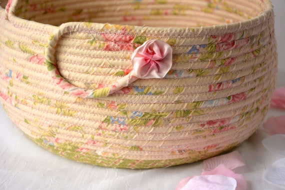 Garden Bolga Basket, Pink Shabby Chic Basket, Handmade Textile Art Basket, Designer Rope Basket with handle, Pretty Fabric Bin