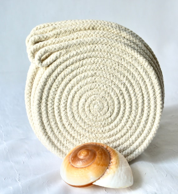 Beige Rope Coasters, 4 Handmade Hot Pads, Country Mug Rugs, Farmhouse Home Decor, Nautical Table Mats, Potholders, Table Toppers