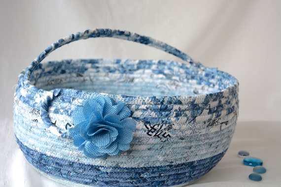 Blue Bolga Basket, Storage Container, Handmade Textile Art Basket, Designer Rope Basket with handle, Shabby Chic Fabric Bin, Garden Party