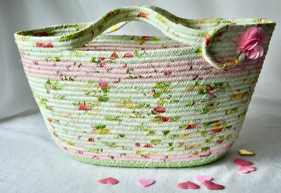 Handled Picnic Basket, Sweet Green Tote Bag, Shabby Chic Floral Basket, Beach Bag, Handmade Handbag, Bathroom Paper Holder