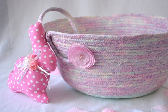 Flower Girl Basket, Spring Decoration, Pastel Pink and Aqua Basket, Handmade Fabric Quilted Basket, Baby First Easter Bucket, Coiled
