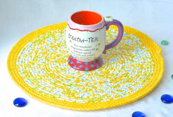 "Summer Place Mat, Handmade Yellow Floral Trivet, 14"" Quilted Trivet, Lemon Yellow Hot pad, Patio Decor,  Coiled Rope Potholder"