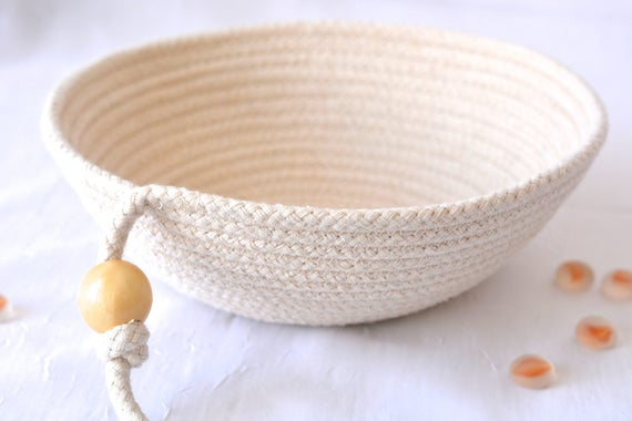 Minimalist Potpourri Bowl, Handmade Raw Rope Basket, Modern Clothesline Basket, Primitive Ring Dish, Desk Accessory